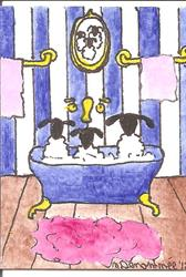 Art: Three Sheep in the Tub by Artist Nancy Denommee
