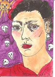 Art: Forty Fridas # 40 Day of the Dead SOLD by Artist Nancy Denommee