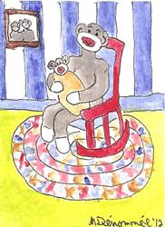 Art: Sock Monkey Rocking the Baby by Artist Nancy Denommee