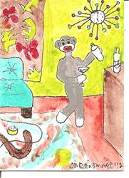 Art: Sock Monkey Mixing Cocktails (2)SOLD by Artist Nancy Denommee