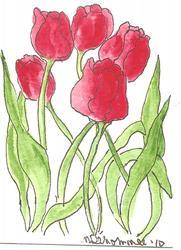 Art: Red Tulips by Artist Nancy Denommee