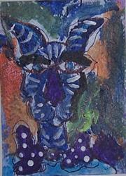 Art: blue cat with polka dot tie by Artist Nancy Denommee