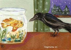 Art: Curious Crow ACEO by Artist Betty Stoumbos