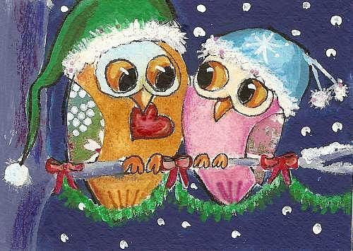 Art: Holiday Owls- Sweethearts in love by Artist Betty Stoumbos