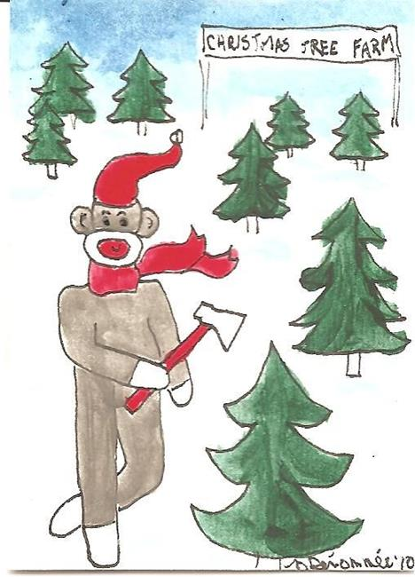 Art: Sock Monkey Decides on Which Tree by Artist Nancy Denommee