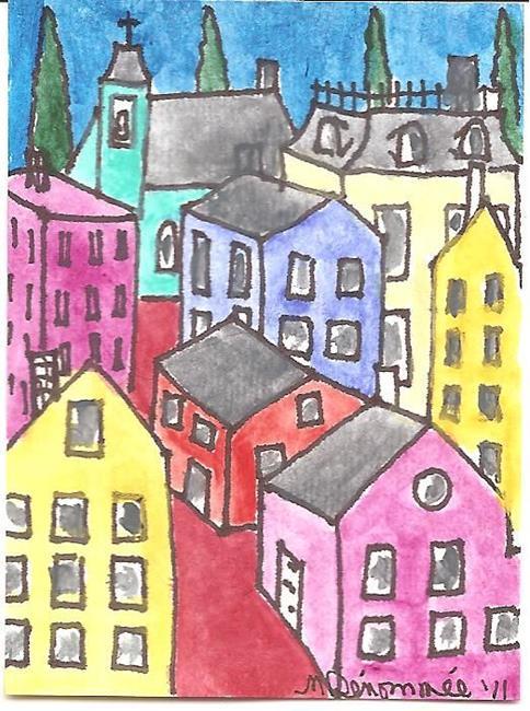 Art: Hillside Town by Artist Nancy Denommee