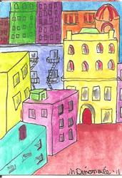 Art: technicolor houses #5 cityscape by Artist Nancy Denommee