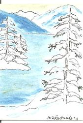 Art: Winter Shoreline by Artist Nancy Denommee
