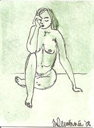 Art: Green Nude # 8 by Artist Nancy Denommee
