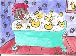 Art: Sock Monkey and his Rubber Duckies by Artist Nancy Denommee