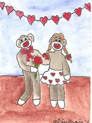 Art: Sock Monkey With His Sweetheart by Artist Nancy Denommee