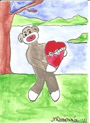 Art: Sock Monkey Ready for Valentine's Day by Artist Nancy Denommee