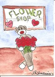 Art: Sock Monkey Buys Red Roses by Artist Nancy Denommee