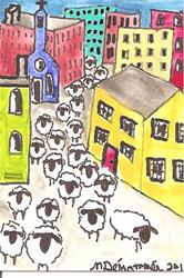 Art: The Sheep Come to Town by Artist Nancy Denommee