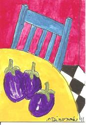 Art: Blue Ikea Chair with Aubergines by Artist Nancy Denommee
