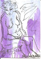 Art: Nude on Stool after Rembrandt by Artist Nancy Denommee