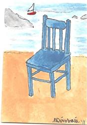 Art: Blue Ikea Chair at the Beach by Artist Nancy Denommee