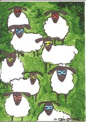 Art: Sheep en Masked by Artist Nancy Denommee