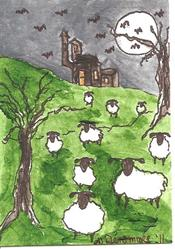 Art: Sheep Near the Haunted House by Artist Nancy Denommee
