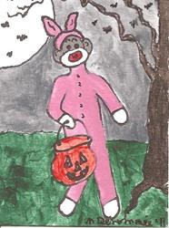 Art: Sock Monkey is a Pink Bunny for Halloween by Artist Nancy Denommee