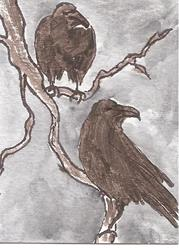 Art: Two Ravens by Artist Nancy Denommee