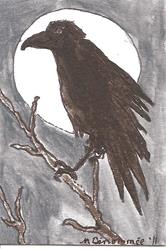 Art: Raven in Moonscape by Artist Nancy Denommee