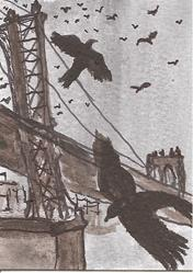 Art: Crows Over the Manhattan Bridge by Artist Nancy Denommee