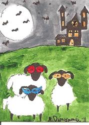 Art: Sheep Already for the Masked Ball by Artist Nancy Denommee