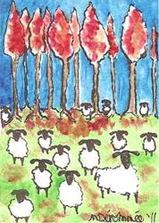 Art: Sheep in Autumn by Artist Nancy Denommee