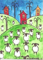 Art: The Hills are Alive with the Sound of Sheep by Artist Nancy Denommee