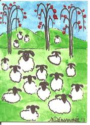 Art: Sheep Resting Under the Apple Trees by Artist Nancy Denommee