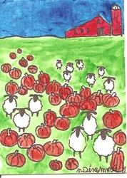Art: Sheep Among the Pumpkins by Artist Nancy Denommee