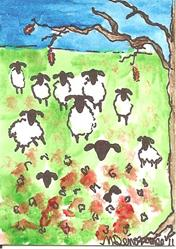 Art: Sheep Playing in the Autumn Leaves by Artist Nancy Denommee