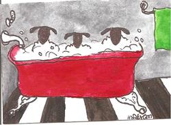 Art: RUB A DUB DUB THREE SHEEP IN THE TUB by Artist Nancy Denommee