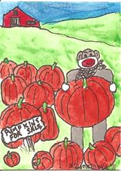 Art: Sock Monkey Selling Pumpkins by Artist Nancy Denommee