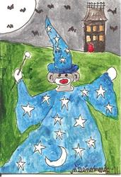 Art: Sock Monkey Dressed as a Wizard for Halloween by Artist Nancy Denommee