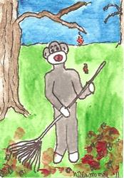 Art: Sock Monkey Raking Leaves by Artist Nancy Denommee