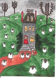 Art: Sheep at Halloween by Artist Nancy Denommee