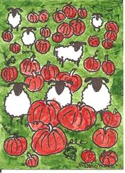 Art: Sheep in Field of Pumpkins by Artist Nancy Denommee