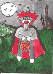 Art: Sock Monkey as Dracula by Artist Nancy Denommee
