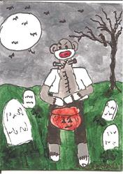 Art: Sock Monkey as Frankenstein's Monster by Artist Nancy Denommee