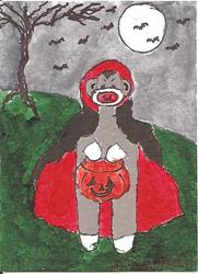 Art: Sock Monkey as a Vampire by Artist Nancy Denommee