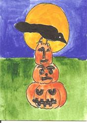Art: Crow on Pumpkin Tower by Artist Nancy Denommee