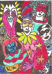Art: The Masked Ball SOLD by Artist Nancy Denommee