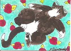Art: Tuxedo Cat with Roses SOLD by Artist Nancy Denommee