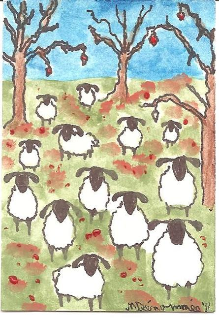 Art: sheep on a bright fall day by Artist Nancy Denommee