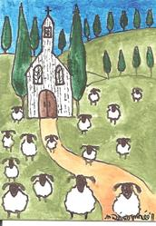 Art: sheep around the old white church by Artist Nancy Denommee