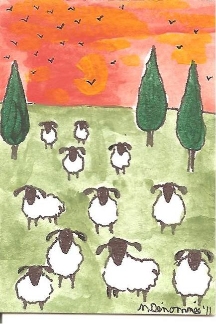 Art: sheep and crows gather at sunset by Artist Nancy Denommee