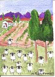Art: sheep at the winery SOLD by Artist Nancy Denommee