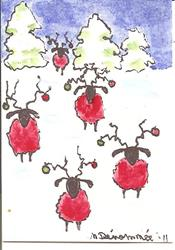Art: Sheep All Decked Out for the Holidays by Artist Nancy Denommee